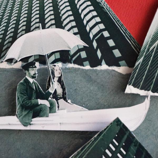Collage Analogique France Mermet Lyon Artiste lyonnaise dimanche lac détournement barque moustache haut de forme