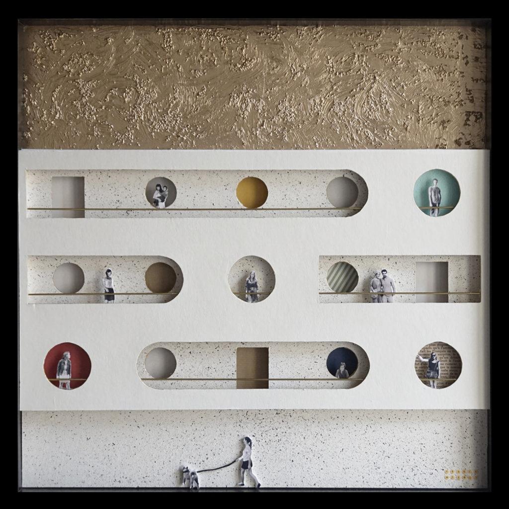Collage Analogique France Mermet Lyon Artiste lyonnaise Vis à vis Façade architecture graphique graphisme fenêtres silhouettes