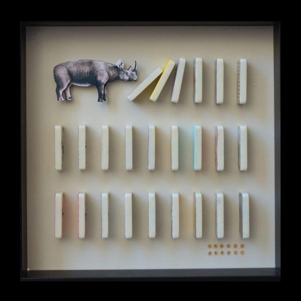Collage Analogique France Mermet Lyon Artiste lyonnaise rhinocéros dominos souvenirs effondrement