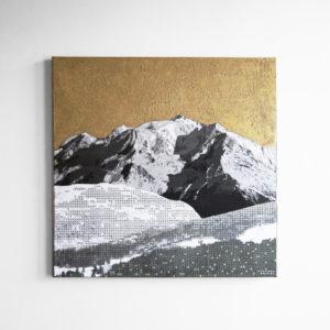 Tableau Mont Blanc Montagne Pointillisme Collage