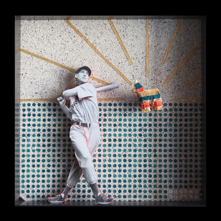 Collage analogique Ted Williams Baseball Pinata France Mermet